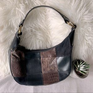 Bueno Vegan Leather Reptile Patchwork Hobo Purse